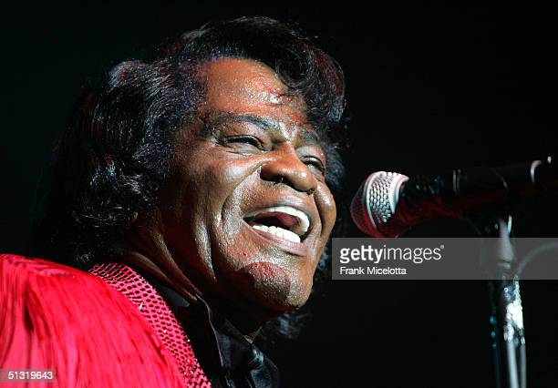 Musician James Brown performs on stage at the Miller Rock Thru Time Celebrating 50 Years of Rock Concert at Roseland September 17 2004 in New York...