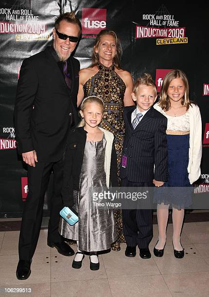 Musician James Hetfield and Francesca Hetfield with family attend the 24th Annual Rock and Roll Hall of Fame Induction Ceremony at Public Hall on...