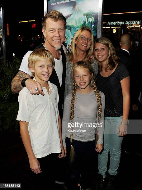 Musician James Hetfield his wife Francesca and their children Castor Marcella and Cali arrive at the premiere of Warner Bros Pictures' Journey 2 The...