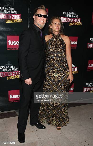 Musician James Hetfield of Metallica and Francesca Hetfield attends the 24th Annual Rock and Roll Hall of Fame Induction Ceremony at Public Hall on...
