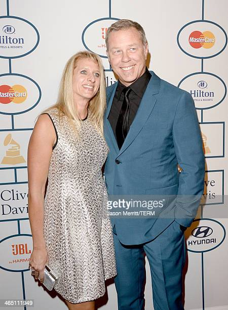 Musician James Hetfield of Metallica and Francesca Hetfield attends the 56th annual GRAMMY Awards PreGRAMMY Gala and Salute to Industry Icons...