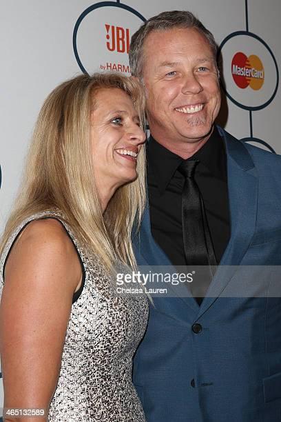 Musician James Hetfield of Metallica and wife Francesca Hetfield arrive at the 2014 HYUNDAI / GRAMMYs Clive Davis PreGRAMMY Gala Activation Equus...