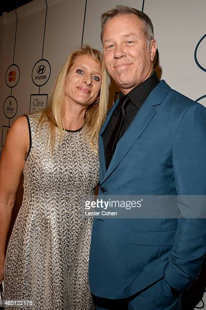 Musician James Hetfield of Metallica and wife Francesca Hetfield attend the 56th annual GRAMMY Awards PreGRAMMY Gala and Salute to Industry Icons...