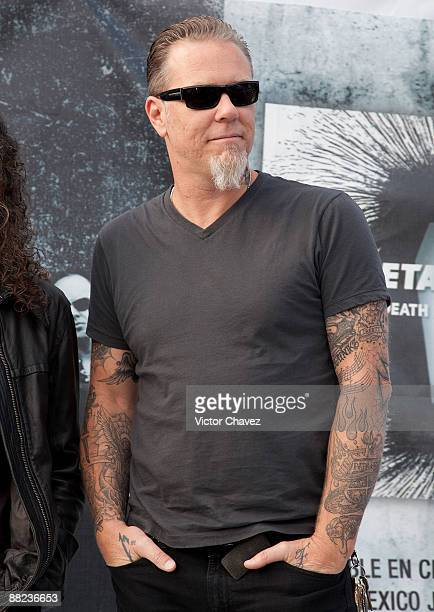 Musician James Hetfield of Metallica attends a press conference ahead of their concert at Foro Sol on June 4 2009 in Mexico City Mexico