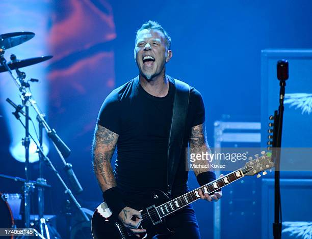 Musician James Hetfield of Metallica performs a secret concert in celebration of 'Metallica Through The Never' during ComicCon International 2013 at...