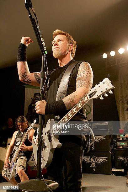 """Musician James Hetfield of Metallica performs at a secret show celebrating the release of Activision's """"Guitar Hero: Metallica"""" at Stubb's during..."""
