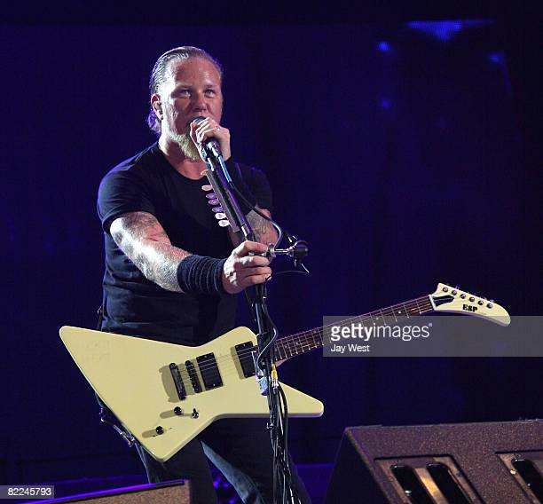 Musician James Hetfield of Metallica performs at Ozzfest 2008 at the Pizza Hut Park on August 9, 2008 in Frisco, Texas.