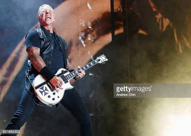 Musician James Hetfield of Metallica performs on stage at BC Place on August 14 2017 in Vancouver Canada