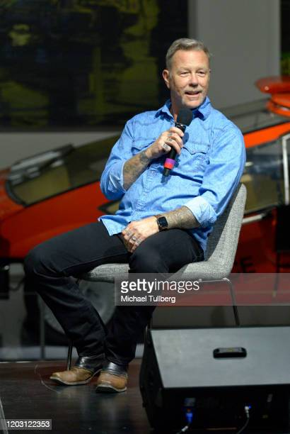 "Musician James Hetfield of Metallica speaks at the opening of his custom automobile exhibit ""Reclaimed Rust: The James Hetfeild Collection"" at..."
