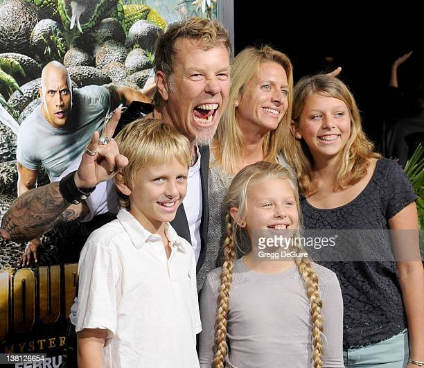 Musician James Hetfield wife Francesca Hetfield and children arrive at Journey 2 The Mysterious Island Los Angeles Premiere at Grauman's Chinese...
