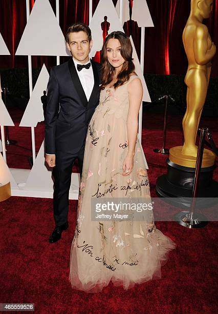 Musician James Righton and actress Keira Knightley arrive at the 87th Annual Academy Awards at Hollywood Highland Center on February 22 2015 in...