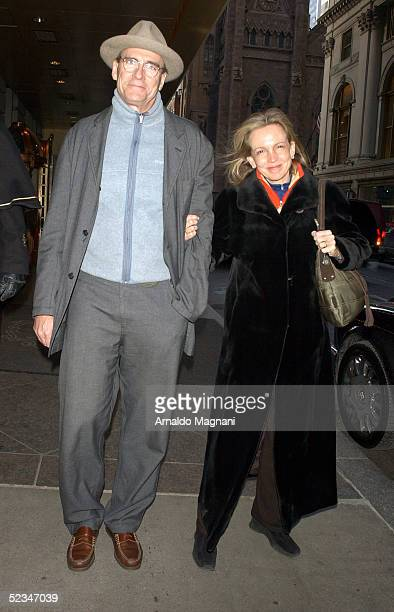 Musician James Taylor leaves his midtown hotel with his wife Kim Smedvig March 9 2005 in New York City Taylor is currently preparing for his US tour