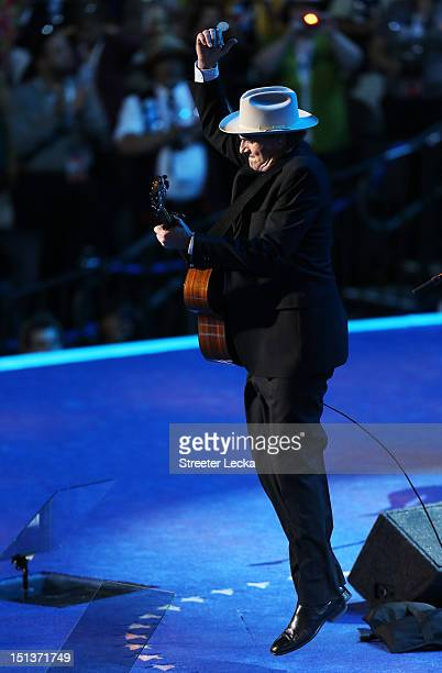 Musician James Taylor performs on stage during the final day of the Democratic National Convention at Time Warner Cable Arena on September 6 2012 in...