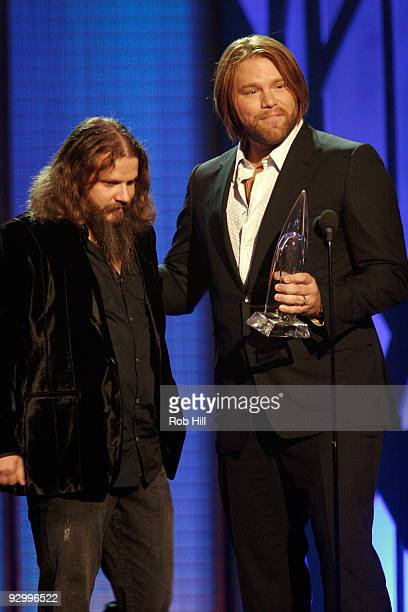 Musician Jamey Johnson and James Otto onstage at the 43rd Annual CMA Awards at the Sommet Center on November 11 2009 in Nashville Tennessee