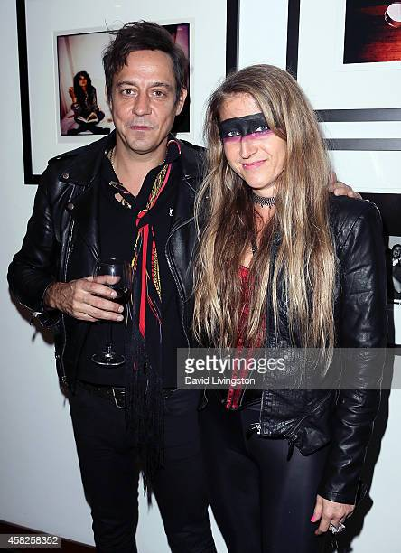 Musician Jamie Hince of The Kills and Trixie Textor attend a party for Hince's book 'Echo Home' at the Morrison Hotel Gallery at Sunset Marquis Hotel...