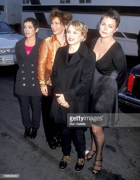 Musician Jane Wiedlin musician Kathy Valentine musician Gina Shock and musician Belinda Carlisle attend the 22nd Annual American Music Awards on...