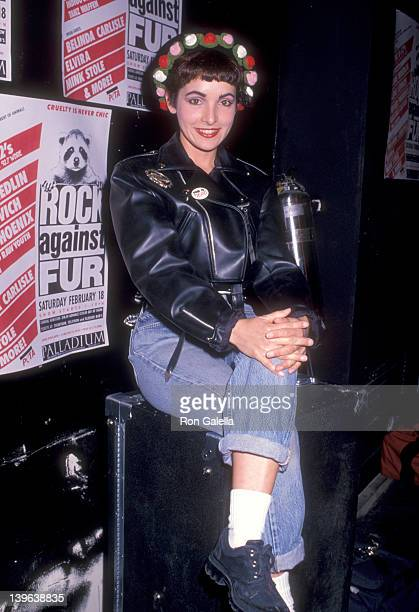 Musician Jane Wiedlin of The GoGo's attends PETA's 'Rock Against Fur' Concert on February 19 1989 at The Palladium in New York City