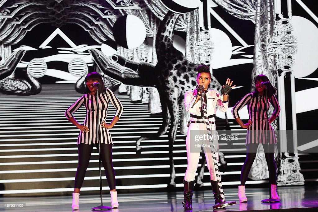 Musician Janelle Monae performs on stage at Google presents YouTube Brandcast event at The Theater at Madison Square Garden on April 30, 2014 in New York City.