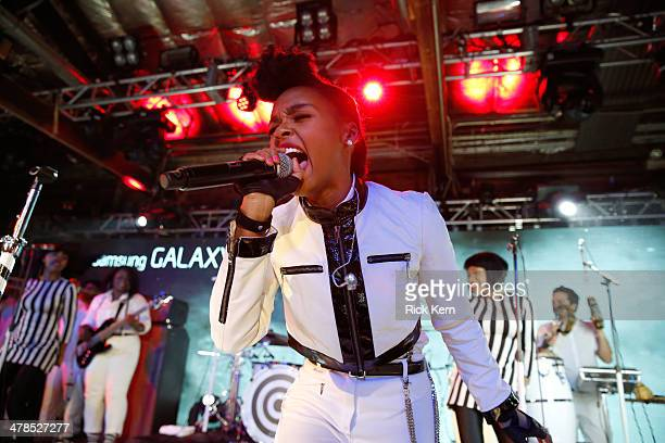 Musician Janelle Monae performs onstage as Samsung Galaxy presents Janelle Monae and Gary Clark, Jr. At SXSW on March 13, 2014 in Austin, Texas.