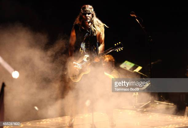 Musician Jared Leto of Thirty Seconds to Mars performs during The Carnivores Tour at Verizon Wireless Amphitheater on September 11 2014 in Irvine...