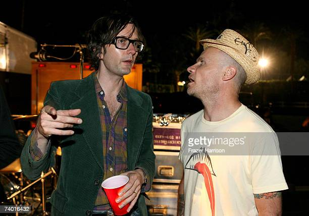 Musician Jarvis Cocker and musician Flea backstage during day 1 of the Coachella Music Festival held at the Empire Polo Field on April 27 2007 in...