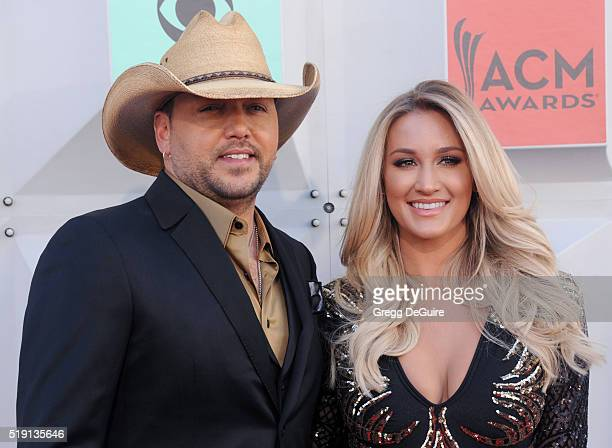 Musician Jason Aldean and Brittany Kerr arrive at the 51st Academy Of Country Music Awards at MGM Grand Garden Arena on April 3 2016 in Las Vegas...