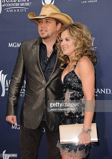 Musician Jason Aldean and Jessica Aldean arrive at the 46th Annual Academy Of Country Music Awards RAM Red Carpet held at the MGM Grand Garden Arena...