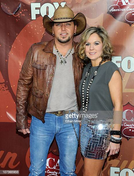 Musician Jason Aldean and Jessica Aldean arrive at the American Country Awards 2010 held at the MGM Grand Garden Arena on December 6 2010 in Las...