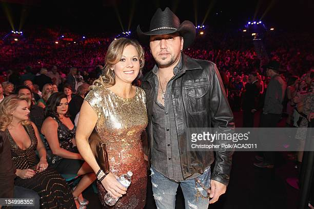 Musician Jason Aldean and Jessica Aldean attends the American Country Awards 2011 at the MGM Grand Garden Arena on December 5, 2011 in Las Vegas,...