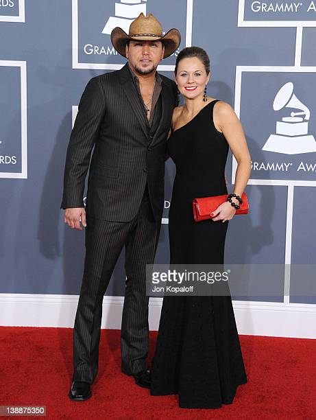 Musician Jason Aldean and wife Jessica Aldean arrive at 54th Annual GRAMMY Awards held the at Staples Center on February 12, 2012 in Los Angeles,...