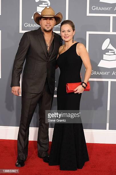 Musician Jason Aldean and wife Jessica Aldean arrive at The 54th Annual GRAMMY Awards at Staples Center on February 12, 2012 in Los Angeles,...