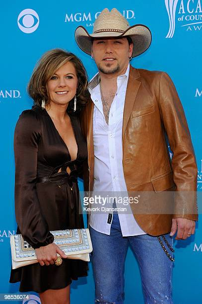 Musician Jason Aldean and wife Jessica Aldean arrive for the 45th Annual Academy of Country Music Awards at the MGM Grand Garden Arena on April 18...
