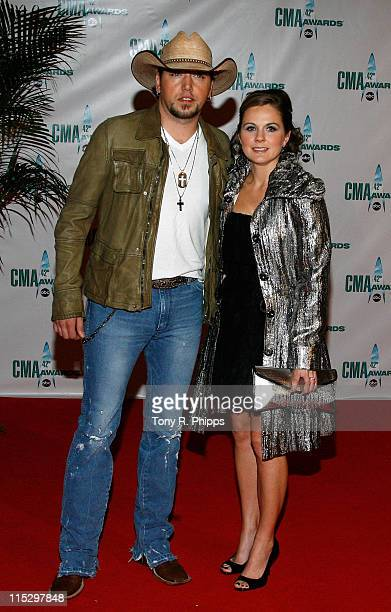 Musician Jason Aldean and wife Jessica Aldean attends the 42nd Annual CMA Awards at the Sommet Center on November 12, 2008 in Nashville, Tennessee.