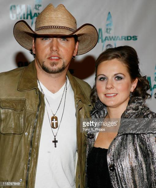 Musician Jason Aldean and wife Jessica Aldean attends the 42nd Annual CMA Awards at the Sommet Center on November 12 2008 in Nashville Tennessee