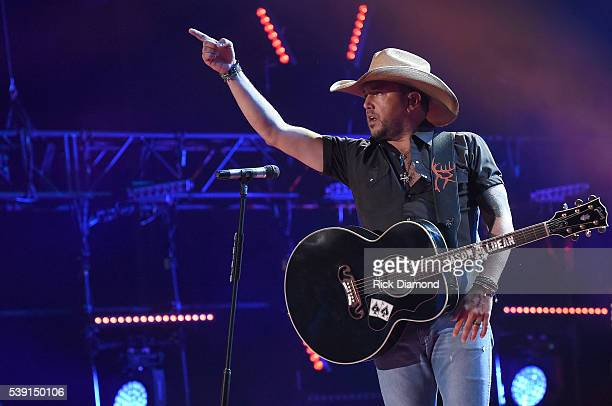 Musician Jason Aldean performs onstage during 2016 CMA Festival Day 1 at Nissan Stadium on June 9 2016 in Nashville Tennessee