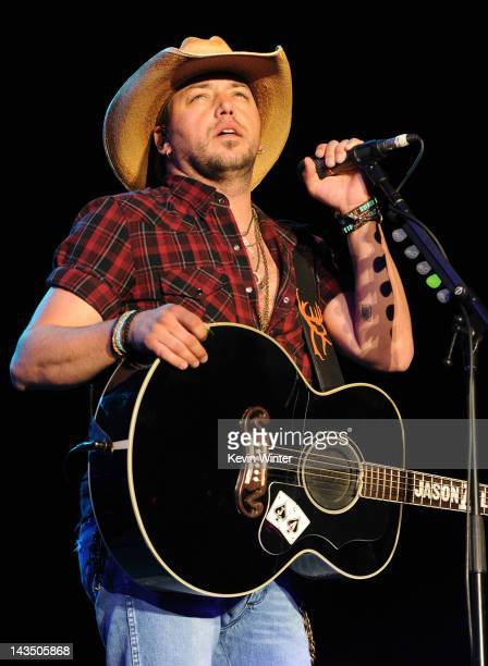 Musician Jason Aldean performs onstage during the Stagecoach Country Music Festival held at the Empire Polo Field on April 27, 2012 in Indio,...