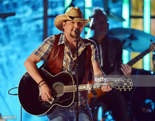 Musician Jason Aldean performs onstage during Tim McGraw's Superstar Summer Night presented by the Academy of Country Music at the MGM Grand Garden...