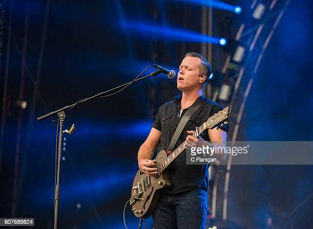 Musician Jason Isbell performs on the Sunset Cliffs Stage during the 2016 KAABOO Del Mar at the Del Mar Fairgrounds on September 18 2016 in Del Mar...