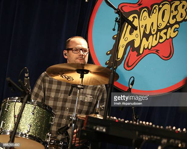 Musician Jason McGerr of Death Cab for Cutie performs onstage for the release of their new album 'Kintsugi' at Amoeba Music on March 31 2015 in...