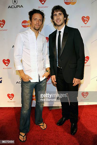 Musician Jason Mraz and musician Josh Groban arrive at the 2010 MusiCares Person Of The Year Tribute To Neil Young at the Los Angeles Convention...