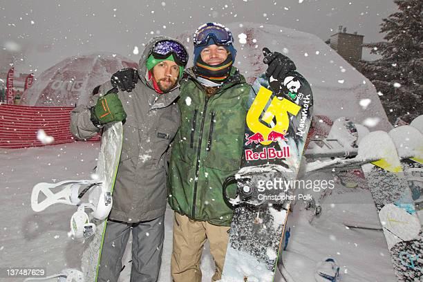 Musician Jason Mraz and professional snowboarder John Jackson at the Burton Lounge at Park City Mountain Resort on January 21 2012 in Park City Utah