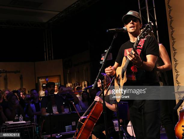 Musician Jason Mraz attends the 2014 National Association of Music Merchants show at the Anaheim Convention Center on January 25 2014 in Anaheim...