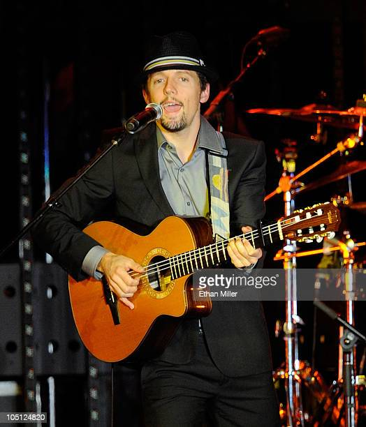 Musician Jason Mraz performs onstage during Andre Agassi Foundation for Education's 15th Grand Slam for Children benefit concert at the Wynn Las...