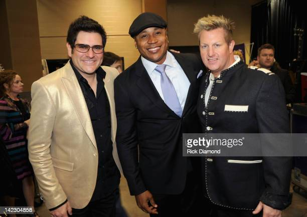 Musician Jay DeMarcus of Rascal Flatts LL Cool J and musician Gary LeVox of Rascal Flatts attend the 47th Annual Academy Of Country Music Awards held...
