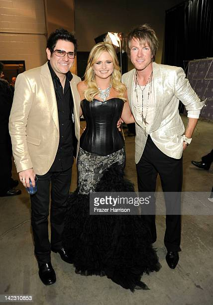 Musician Jay DeMarcus singer Miranda Lambert and musician Joe Don Rooney pose backstage at the 47th Annual Academy Of Country Music Awards held at...