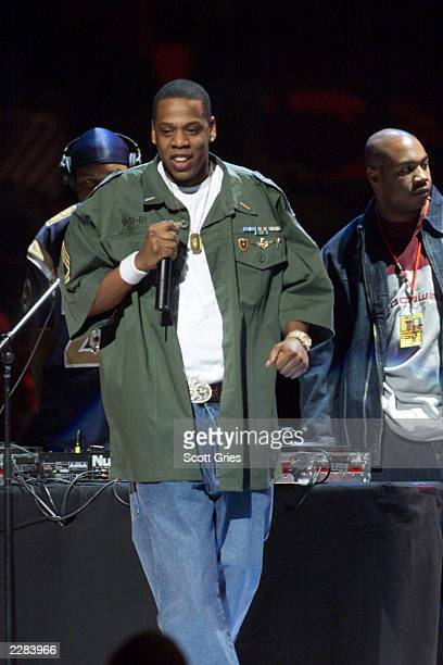 Musician Jay Z performing at The Concert for New York City to benefit the victims of the World Trade Center disaster at Madison Square Garden in New...