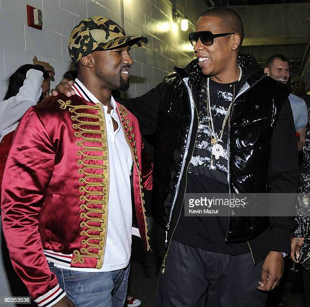 MIAMI MARCH 22 Musician JayZ and Musician Kanye West backstage before they perform at American Airlines Arena on March 22 2008 in Miami **EXCLUSIVE**