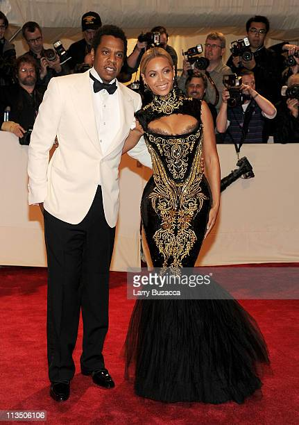 Musician JayZ and singer Beyonce attend the Alexander McQueen Savage Beauty Costume Institute Gala at The Metropolitan Museum of Art on May 2 2011 in...