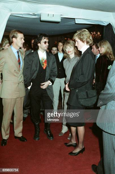 Musician Jean Michel Jarre and his wife Charlotte seen here meeting Princess Diana at the Royal Victoria Docks Docklands London before the...