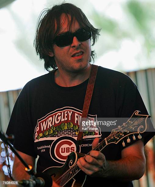 Musician Jeff Austin from the band Yonder Mountain String Band performs on the Appaloosa Stage during the Stagecoach Music Festival held at the...